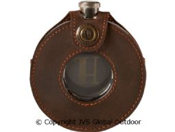 Hipflask, round  W/ leather